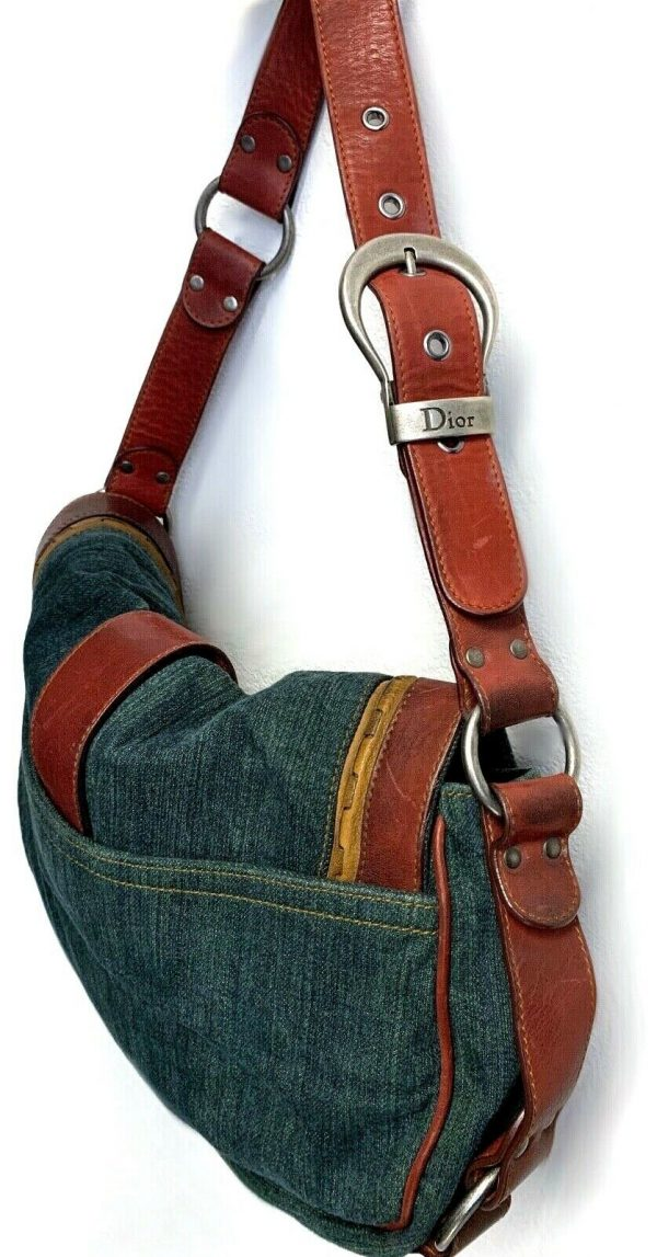 Christian Dior Gaucho Double Saddle Green Jeans Brown Red Leather Shoulder Bag 113778315430 4
