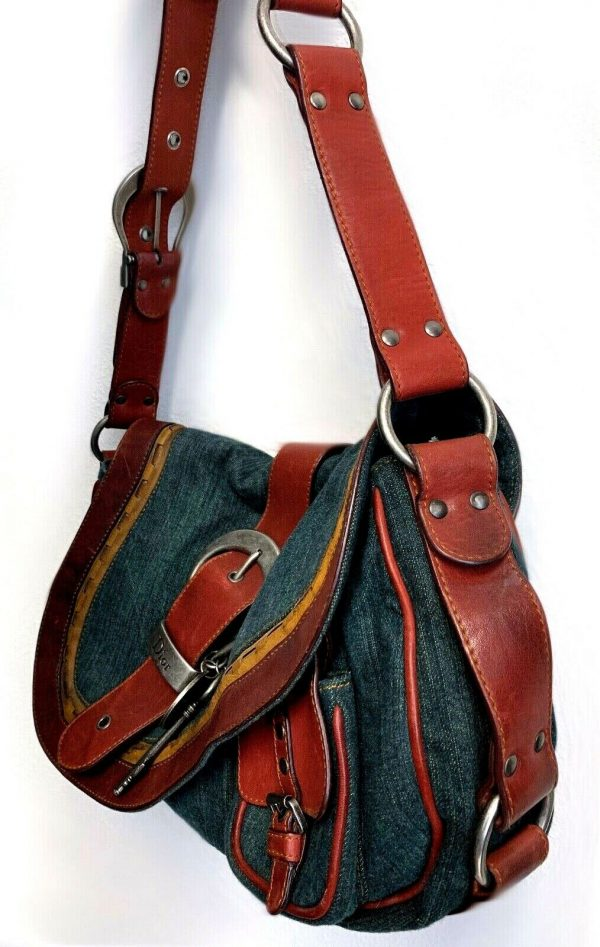 Christian Dior Gaucho Double Saddle Green Jeans Brown Red Leather Shoulder Bag 113778315430 5