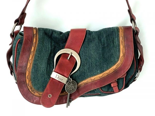 Christian Dior Gaucho Double Saddle Green Jeans Brown Red Leather Shoulder Bag 113778315430 6