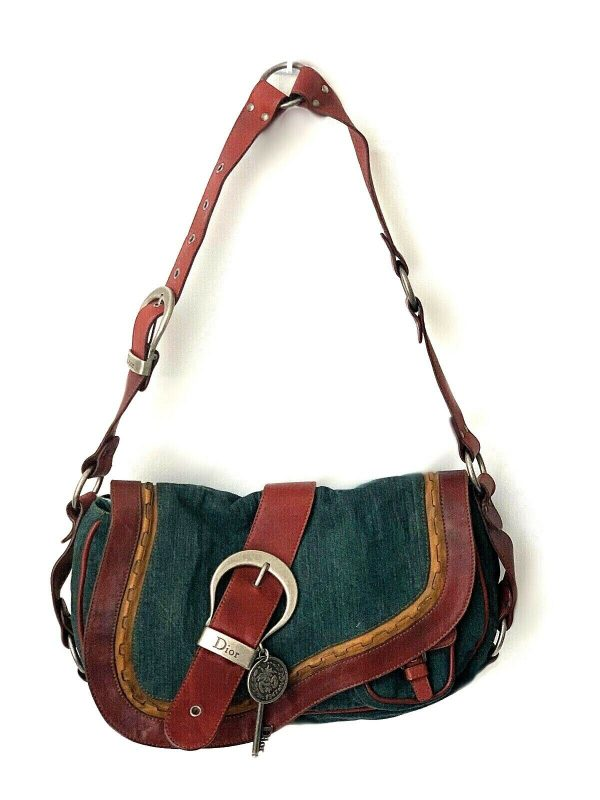 Christian Dior Gaucho Double Saddle Green Jeans Brown Red Leather Shoulder Bag 113778315430