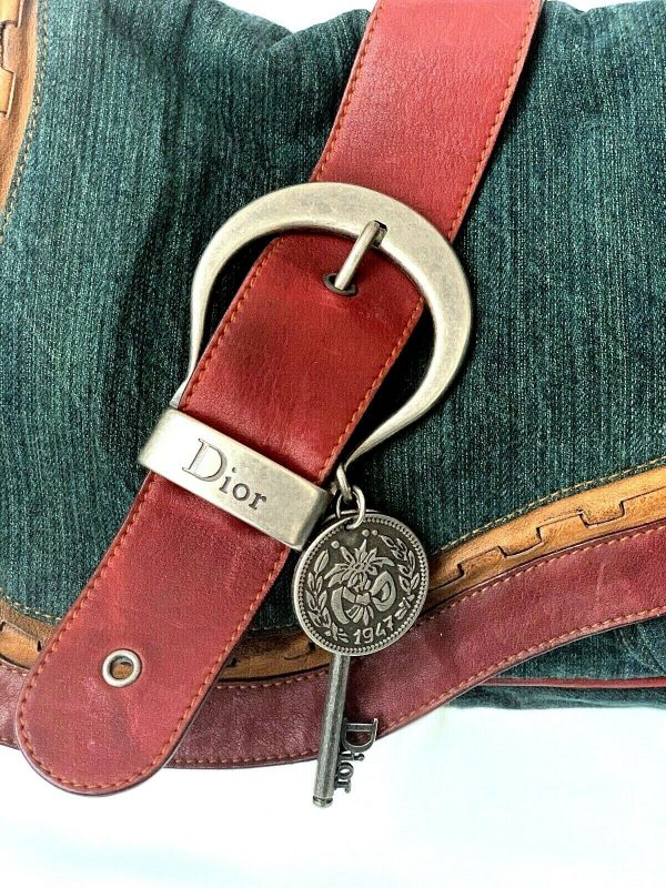 Christian Dior Gaucho Double Saddle Green Jeans Brown Red Leather Shoulder Bag 113778315430 7