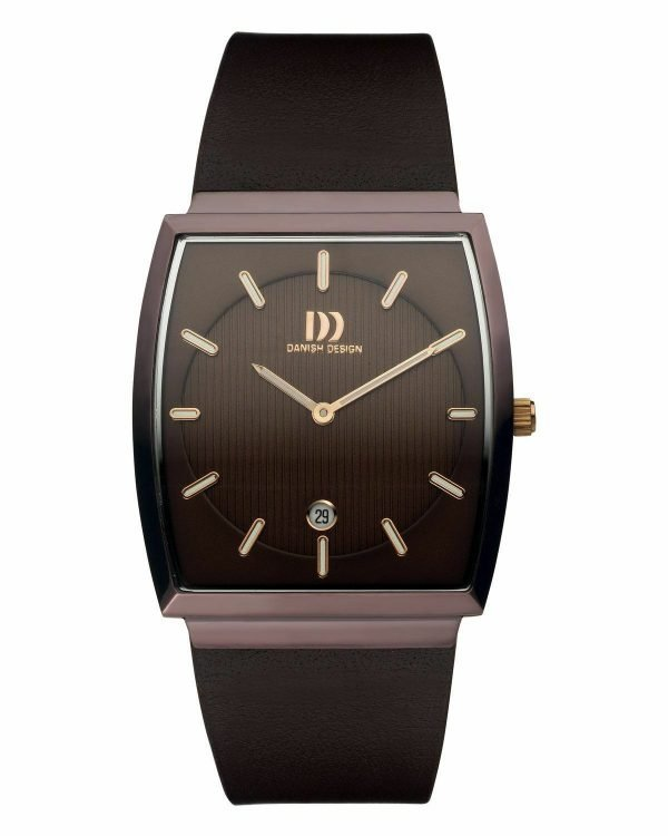 Danish Design IQ17Q900 Stainless Steel Brown Dial Leather Rectangle Mens Watch 122234877970