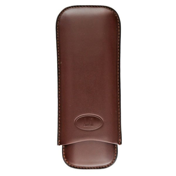 Dunhill Brown Genuine Calf Leather 2 Piece Cigar Case Holder 114497097480 2