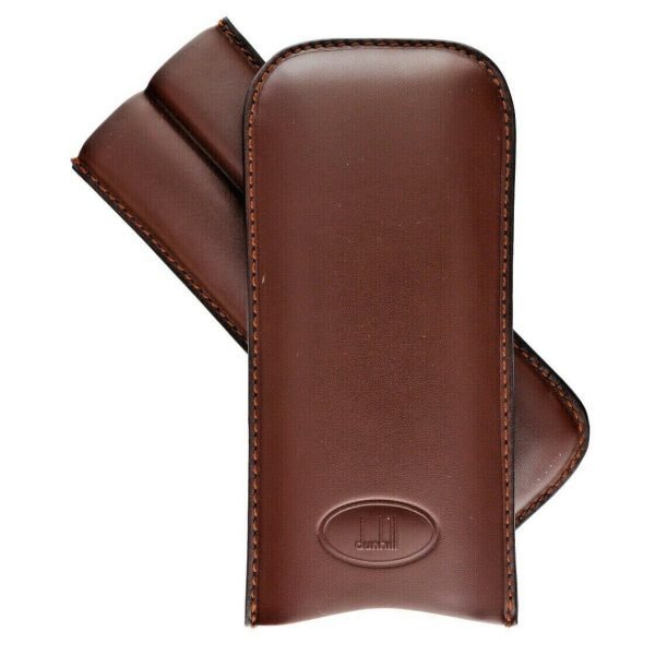 Dunhill Brown Genuine Calf Leather 2 Piece Cigar Case Holder 114497097480