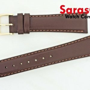 HIRSCH Brumby Leather 20mm Regular Brown Stitched Water Resistant Watch Band 122015679880