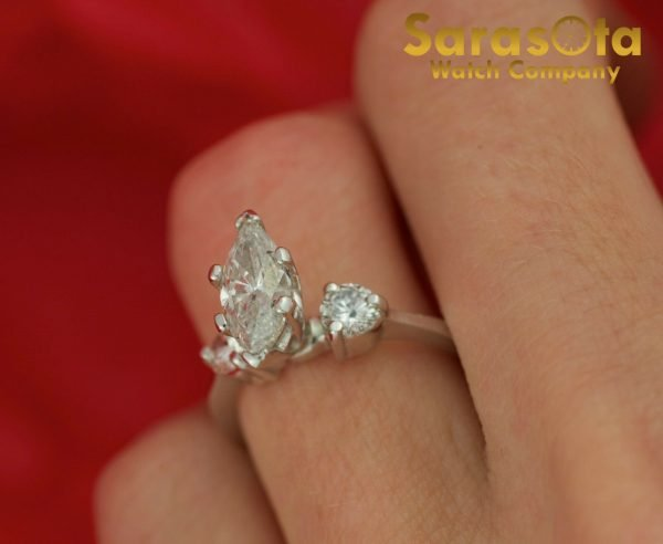 14K White Gold Approx 090 Ct Diamonds 3 Stone Womens Ring Size 45 111825709741 4