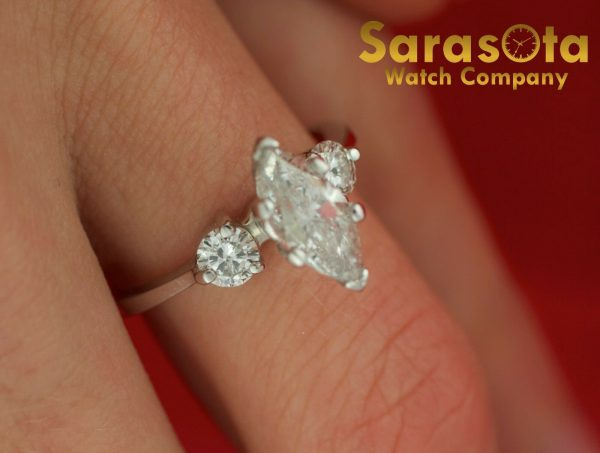 14K White Gold Approx 090 Ct Diamonds 3 Stone Womens Ring Size 45 111825709741 5