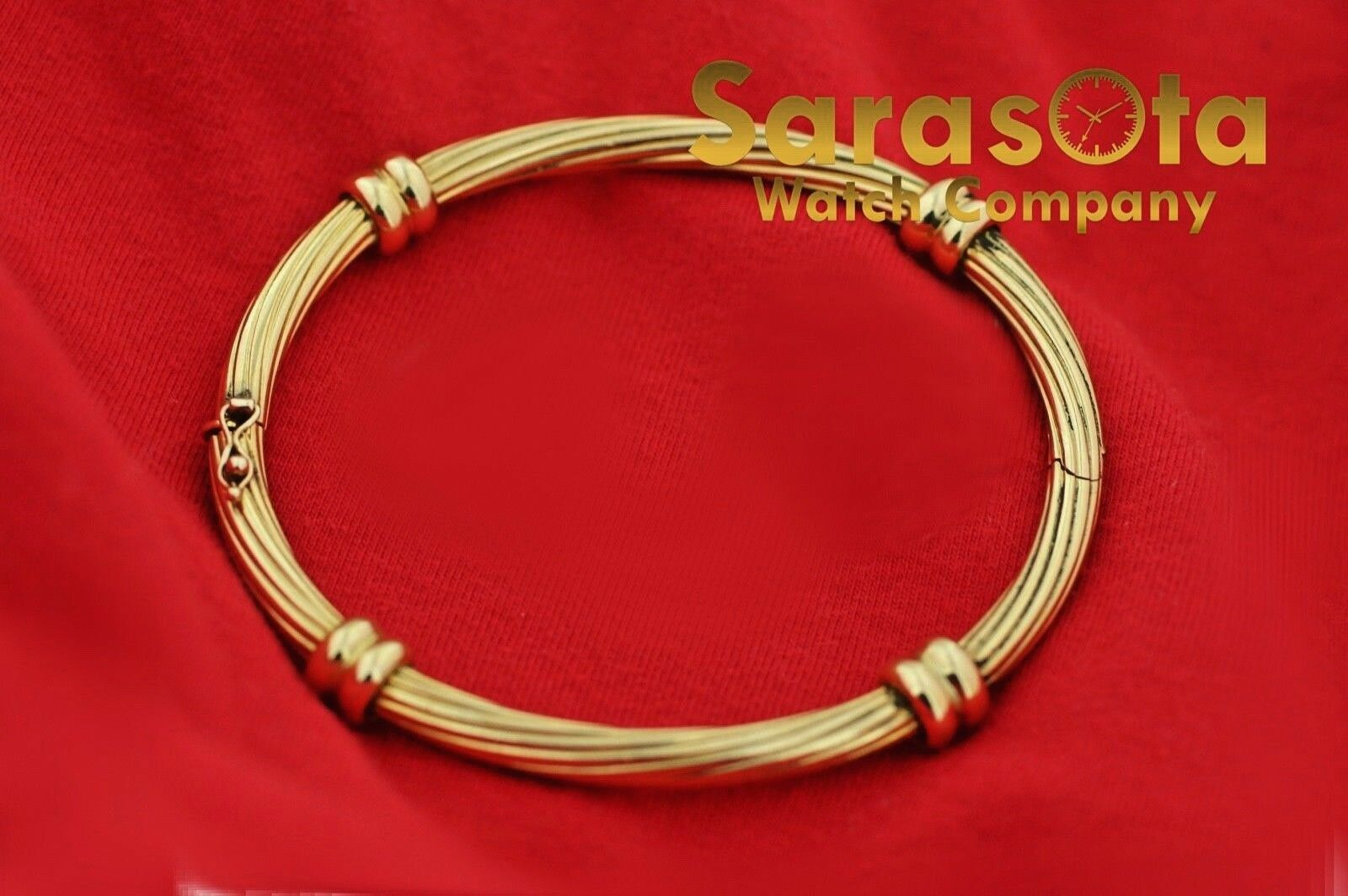 18k Yellow Gold Solid 4mm Polished Cable 4 Station Bangle Womens Bracelet 65 123576100641 5