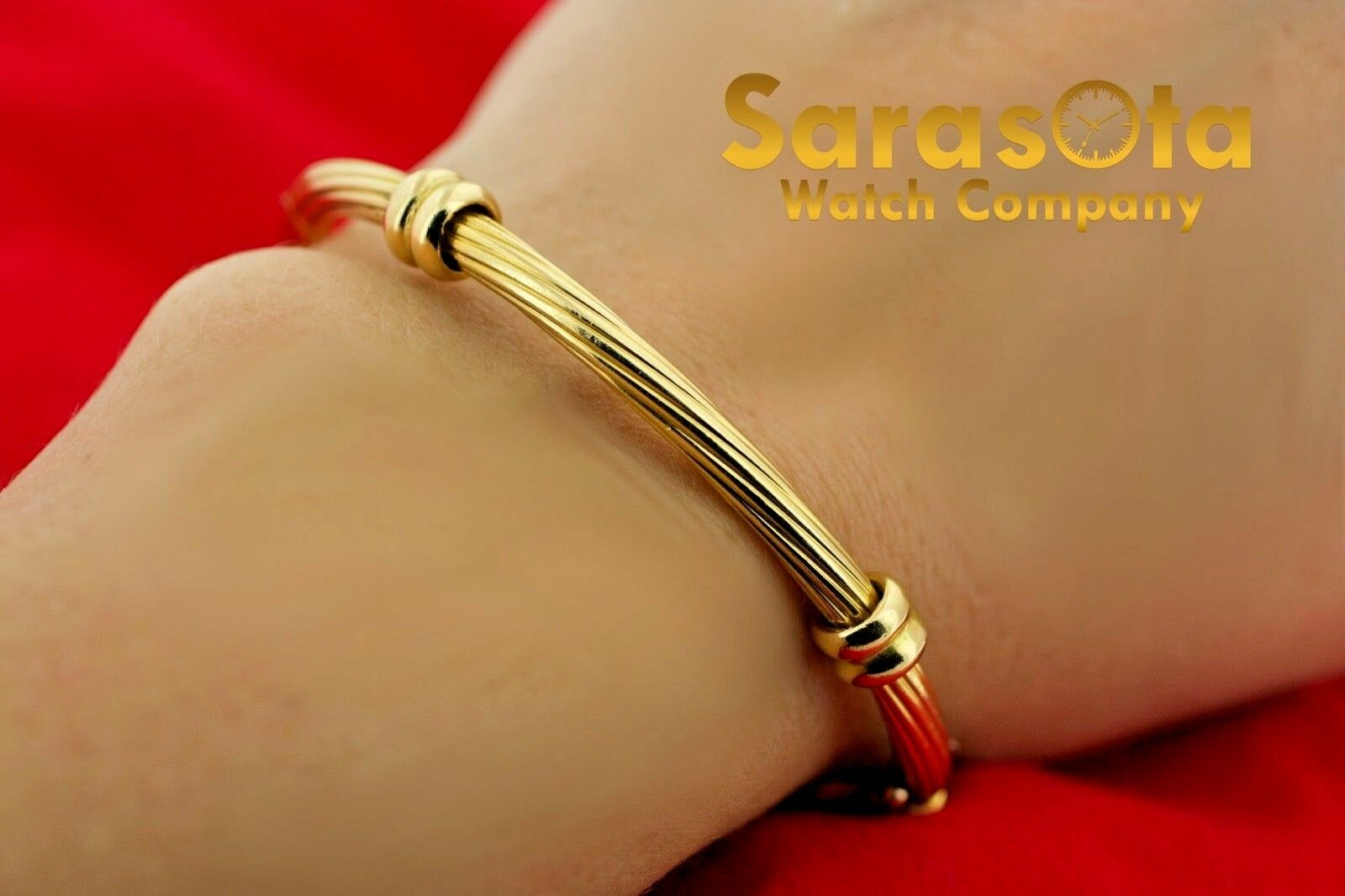 18k Yellow Gold Solid 4mm Polished Cable 4 Station Bangle Womens Bracelet 65 123576100641 7