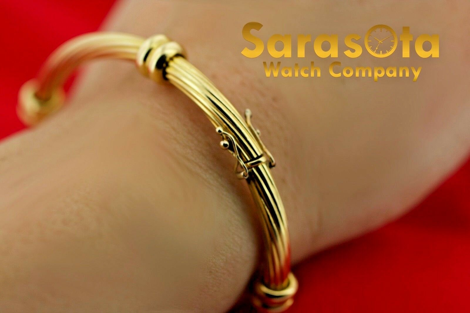 18k Yellow Gold Solid 4mm Polished Cable 4 Station Bangle Womens Bracelet 65 123576100641 8