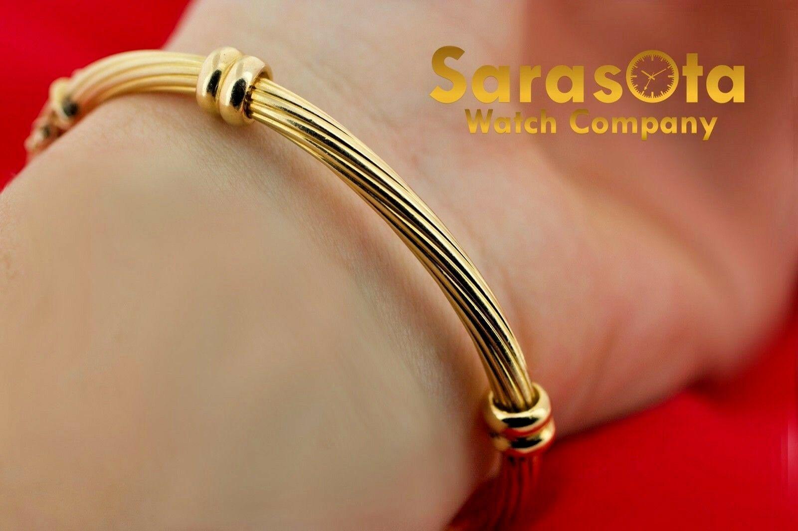 18k Yellow Gold Solid 4mm Polished Cable 4 Station Bangle Womens Bracelet 65 123576100641 9