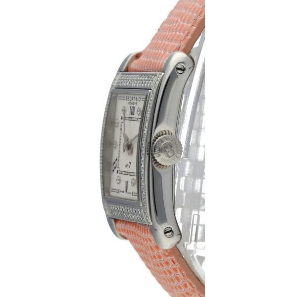 BedatCo N07 728 Diamonds Stainless Steel Tank Leather Automatic Womens Watch 124412103061 3