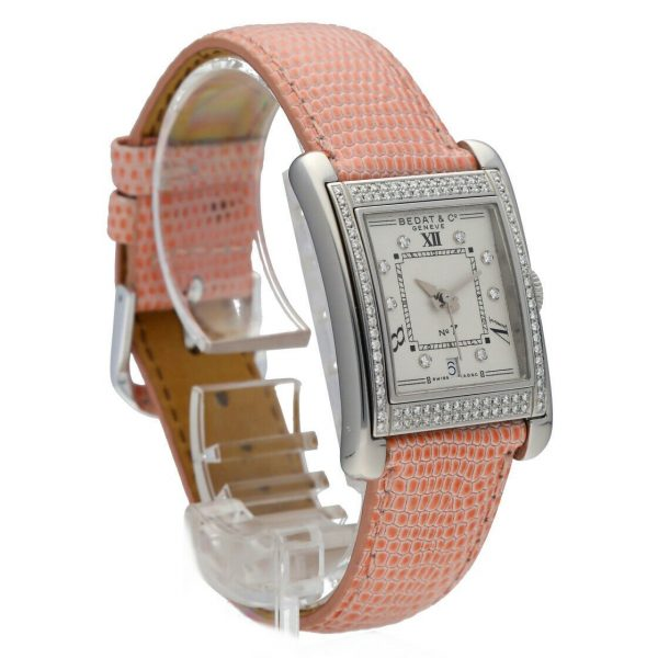 BedatCo N07 728 Diamonds Stainless Steel Tank Leather Automatic Womens Watch 124412103061 5