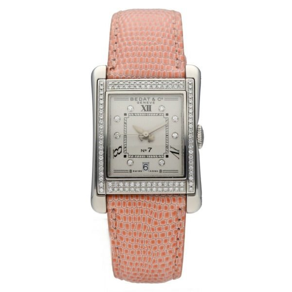 BedatCo N07 728 Diamonds Stainless Steel Tank Leather Automatic Womens Watch 124412103061