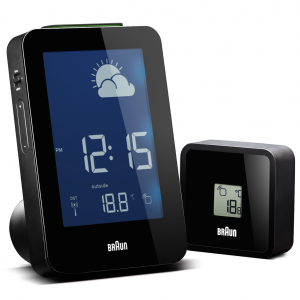 Braun BN C013 RC Black LCD Digital Weather Station Alarm Clock 114692503371