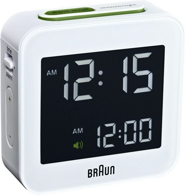Braun BNC008WH White Digital LCD Travel Quartz Alarm Clock 133519944321