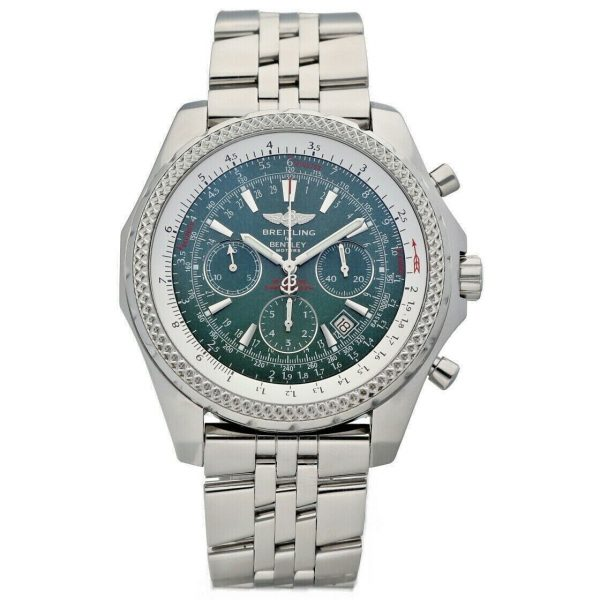 Breitling A25362 Bentley Green Dial 48mm Chrono Steel Automatic Mens Watch 133574055181