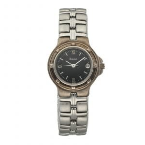 Bulova 96M03 Stainless Steel 25mm Case Black Dial Quartz Womens Watch 133662370291