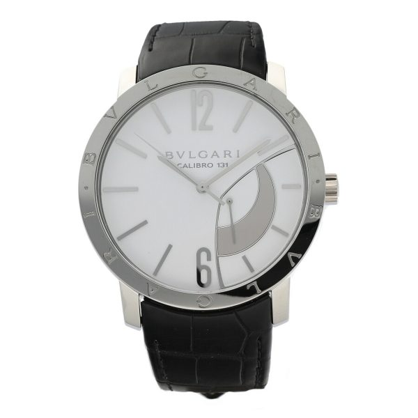 Bvlgari 101870 Calibro 131 White Dial Steel 43mm Leather Manual Wind Mens Watch 133818647431 2