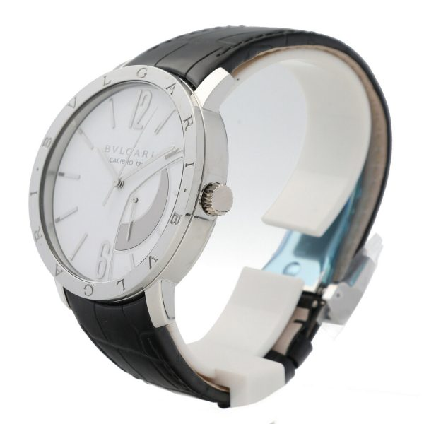 Bvlgari 101870 Calibro 131 White Dial Steel 43mm Leather Manual Wind Mens Watch 133818647431 3