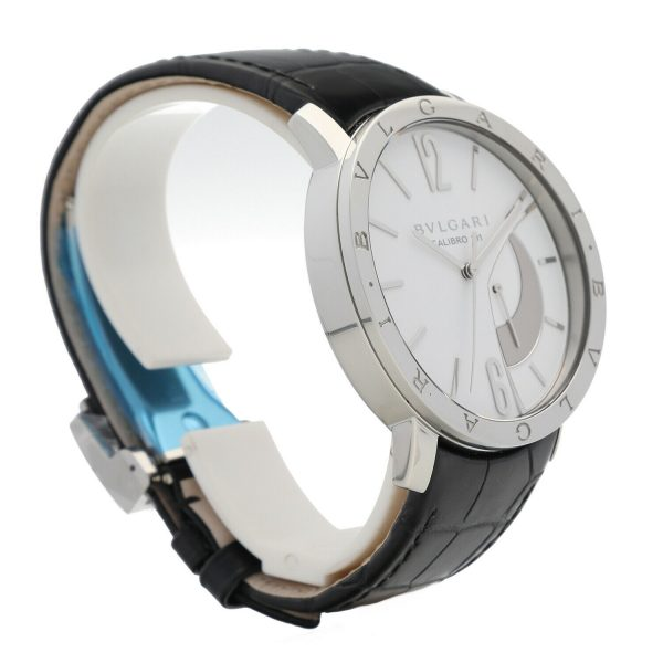 Bvlgari 101870 Calibro 131 White Dial Steel 43mm Leather Manual Wind Mens Watch 133818647431 4