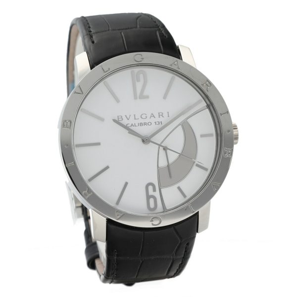 Bvlgari 101870 Calibro 131 White Dial Steel 43mm Leather Manual Wind Mens Watch 133818647431 5