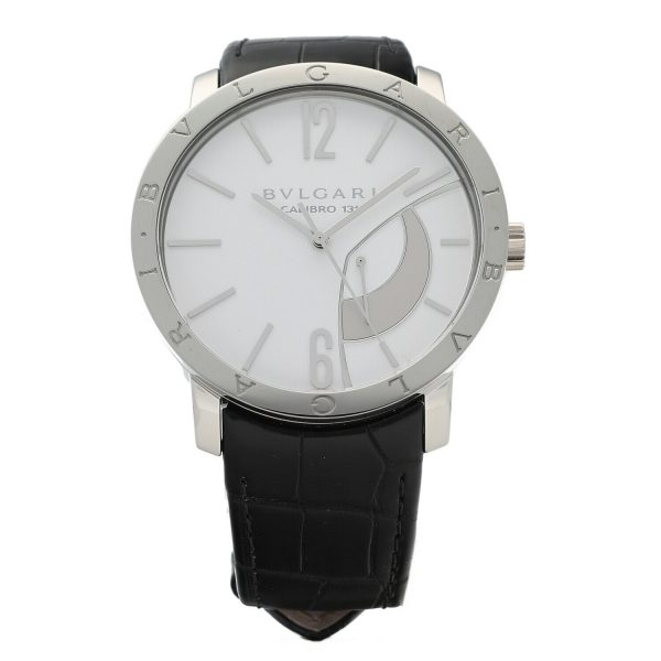 Bvlgari 101870 Calibro 131 White Dial Steel 43mm Leather Manual Wind Mens Watch 133818647431
