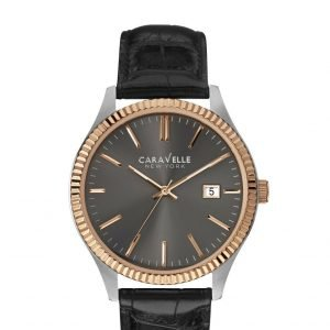 Caravelle New York 45B131 Black Dial Two Tone Stainless Steel Quartz Mens Watch 112043573831