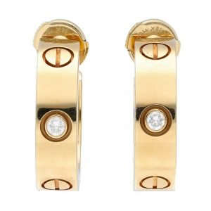 Cartier 18k Yellow Gold 750 Love Diamond Hoop Stud Earrings 133591303631