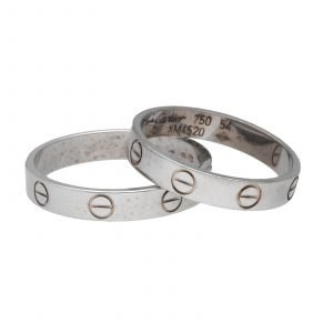 Cartier Love His and Hers Set 18k White Gold 750 Wedding Band Ring 85 7 Size 133660585921