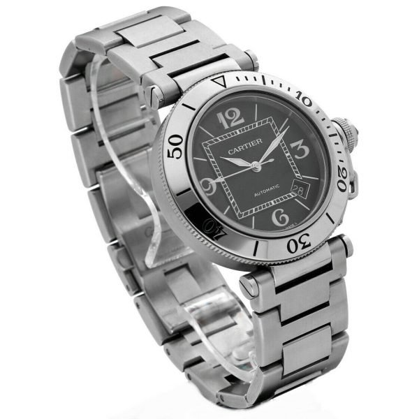 Cartier Pasha Seatimer 2790 Black Dial Stainless Steel Automatic Mens Watch 133366974131 3