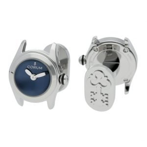 Corum Bubble Mini L13703610 Steel Blue Dial Polished Round Mens Cufflinks 124287038071