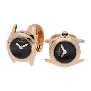 Corum Bubble Mini L13703874 Rose Gold Black Dial Polished Round Mens Cufflinks 133485452531
