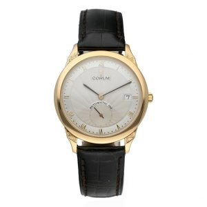 Corum Romulus 295101560000 FL32 18k Yellow Gold Leather Automatic Mens Watch 124296990071