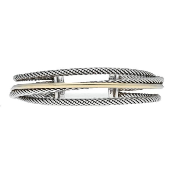 David Yurman 750 Yellow Gold Bonded Sterling Silver Cable Wire Cuff Bracelet 65 133492253521 3
