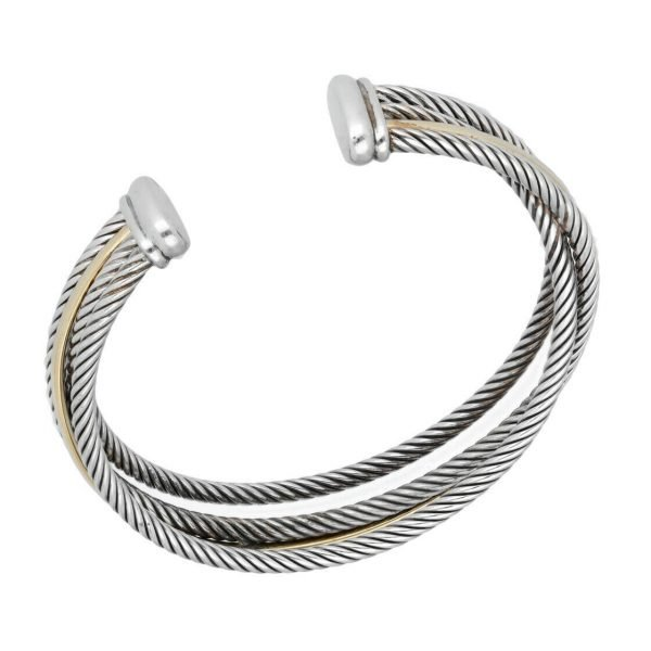 David Yurman 750 Yellow Gold Bonded Sterling Silver Cable Wire Cuff Bracelet 65 133492253521 4