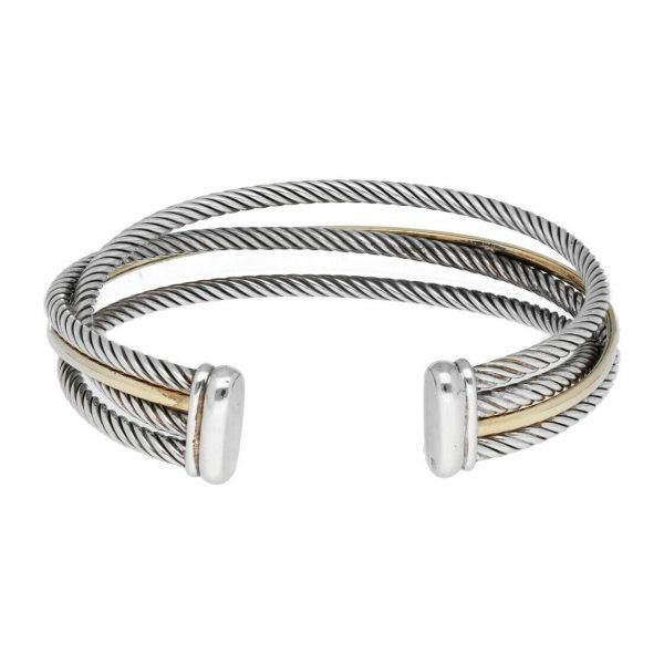 David Yurman 750 Yellow Gold Bonded Sterling Silver Cable Wire Cuff Bracelet 65 133492253521 5