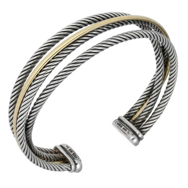 David Yurman 750 Yellow Gold Bonded Sterling Silver Cable Wire Cuff Bracelet 65 133492253521