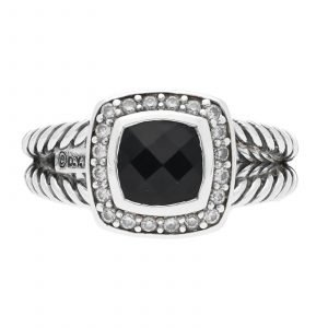 David Yurman Pave Bezel Diamonds Black Onyx Sterling Ring Size 7 Womens 114616026291