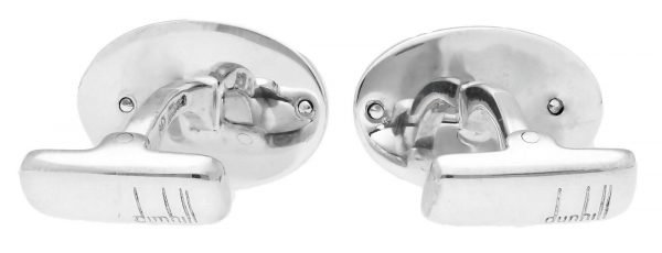 Dunhill Oval Rhodium Plated Silver Black Design Mens Cufflinks 124444328471 3
