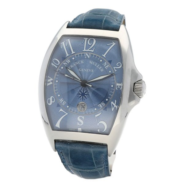 Franck Muller 9080 ST DT MAR Mariner Blue Leather Automatic Wrist Watch 114837941241 4