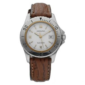 Hamilton Sub 660Ft Stainless Steel White Dial 31mm Leather Quartz Wrist Watch 114364558771