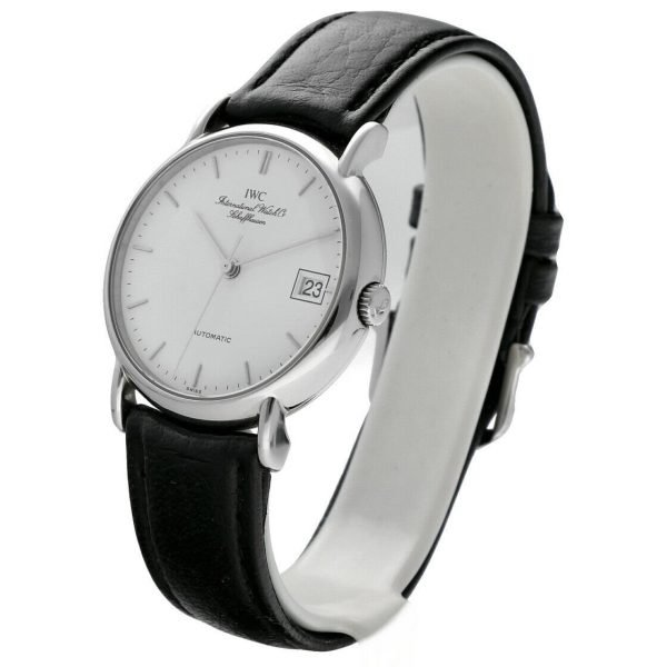 IWC IW3513 24 Portofino Steel Leather White Dial Date Automatic Mens Watch 114022772751 2