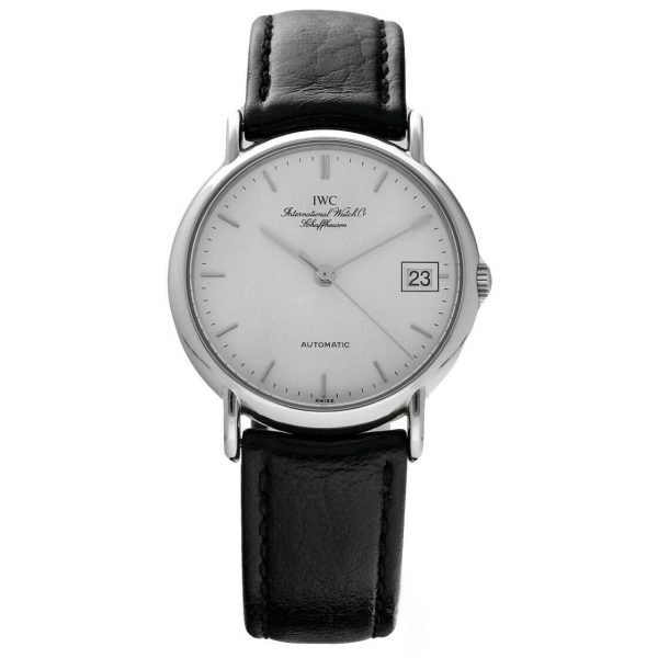 IWC IW3513 24 Portofino Steel Leather White Dial Date Automatic Mens Watch 114022772751