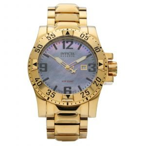 Invicta Reserve 6244 Mother of Pearl Dial Gold Steel 49mm Quartz Mens Watch 114559131361