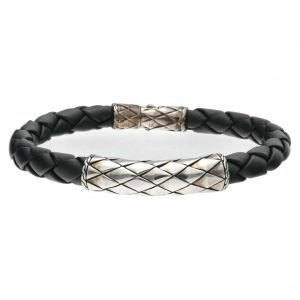 John Hardy Classic Braided Black 8mm Leather Silver 925 Mens Bracelet 133585371181
