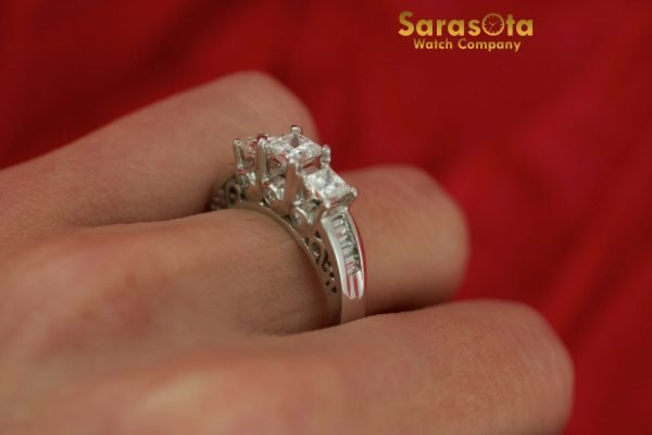 14K White Gold Approx 10 Ct Diamond Womens Ring Size 45 131654106072 7