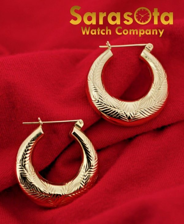 14K Yellow Gold Polish 23mm x 6mm Hoops Lever Back Style Womens Earrings 132536904282 2