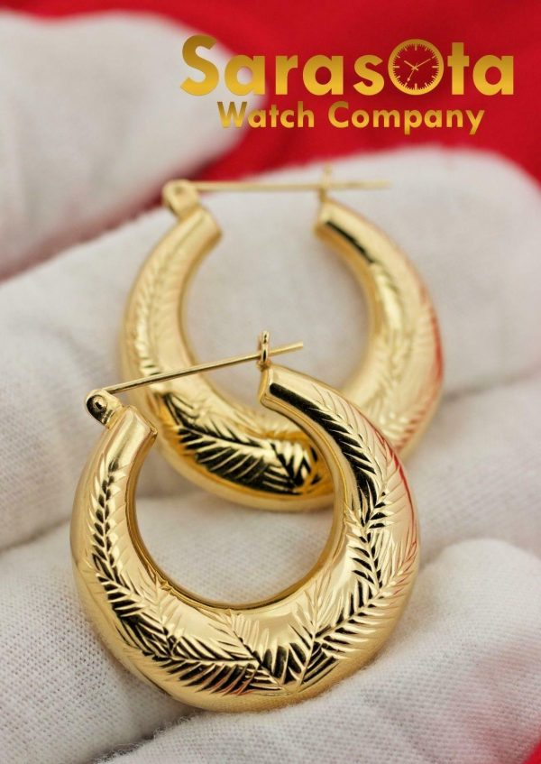 14K Yellow Gold Polish 23mm x 6mm Hoops Lever Back Style Womens Earrings 132536904282 6