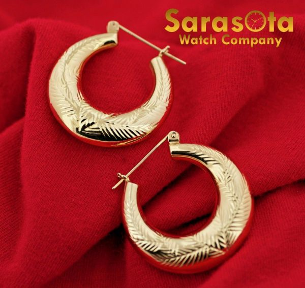 14K Yellow Gold Polish 23mm x 6mm Hoops Lever Back Style Womens Earrings 132536904282